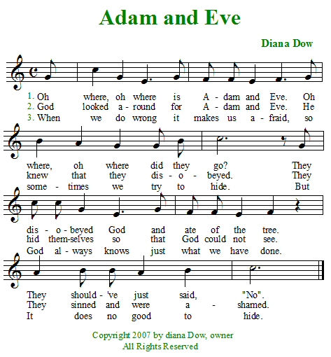 Adam and Eve by Diana Dow. A song for young children.