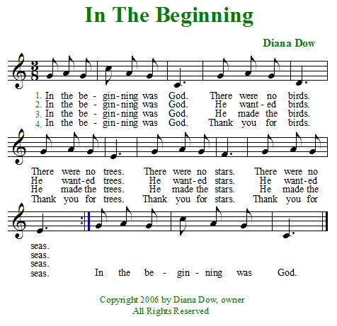 In The Beginning by Diana Dow. A song for young children.