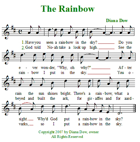 The Rainbow by Diana Dow. A song for young children.