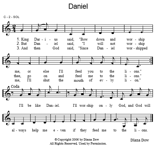 Daniel by Diana Dow.  A song for young children.